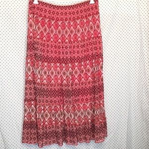 Dana Buchman Large Skirt Red Boho Maxi Long Modest